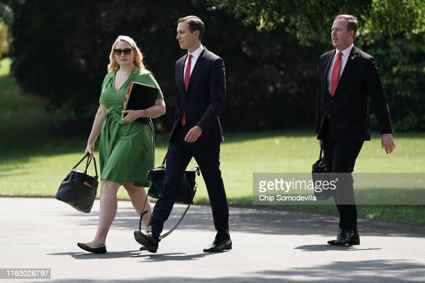 Jared Kushner senior advisor to his fatherinlaw US President Donald Trump departs the White House July 19 2019 in Washington DC Trump is traveling to...