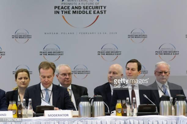Jared Kushner Senior Advisor to US President Donald Trump and Jason Greenblatt advisor to Trump on Israel attend the opening session of the...