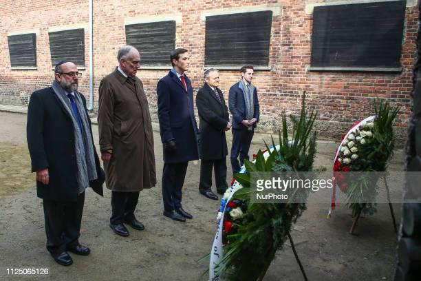 Jared Kushner Senior Advisor to US President Donald Trump and World Jewish Congress president Ronald Lauder visit the Death Wall at the Auschwitz...