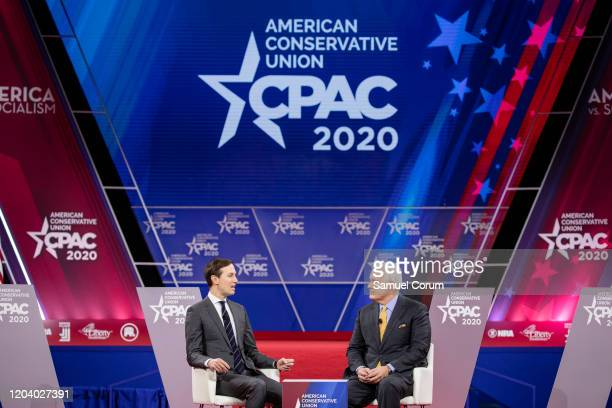 Jared Kushner senior advisor to US President Donald Trump has a conversation with Matt Schlapp Chairman of the American Conservative Union on stage...