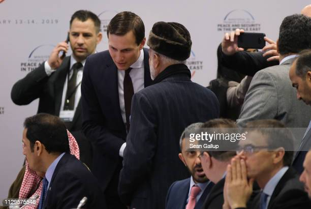 Jared Kushner Senior Advisor to US President Donald Trump speaks to a participant at the opening session of the Ministerial to Promote a Future of...