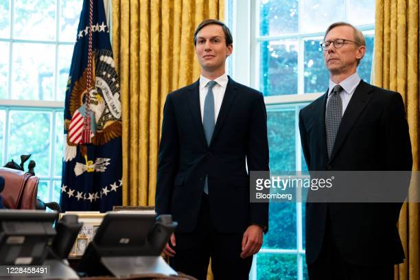 Jared Kushner, senior White House adviser, and Brian Hook, special representative for Iran at the U.S. State Department, right, listen during a press...