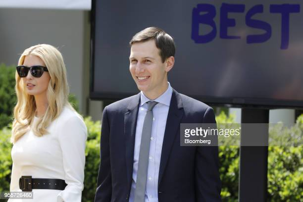 Jared Kushner senior White House adviser and Ivanka Trump assistant to US President Donald Trump arrive for a 'Be Best' initiative event in the Rose...