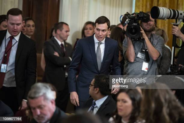 Jared Kushner senior White House adviser arrives to a news conference with US President Donald Trump in the East Room of the White House in...