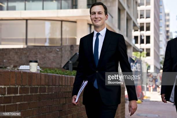 Jared Kushner senior White House adviser arrives to the office of the US Trade Representative in Washington DC US on Thursday July 26 2018 In...