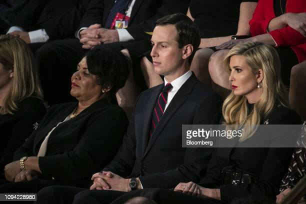 Jared Kushner senior White House adviser center and Ivanka Trump assistant to US President Donald Trump right listen during a State of the Union...
