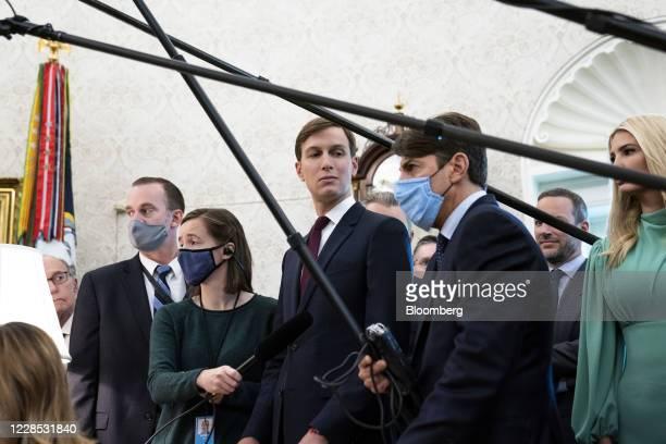 Jared Kushner senior White House adviser center attends a meeting between US President Donald Trump and Benjamin Netanyahu Israel's prime minister...