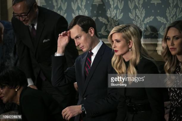 Jared Kushner senior White House adviser center left and Ivanka Trump assistant to US President Donald Trump center right listen during a State of...