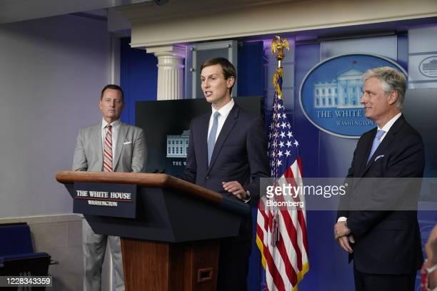 Jared Kushner senior White House adviser center speaks while Robert OBrien national security adviser right and Richard Grenell adviser to US...