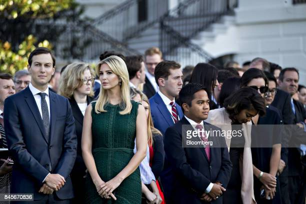 Jared Kushner senior White House adviser from left and Ivanka Trump assistant to US President Donald Trump stands before a moment of silence with US...