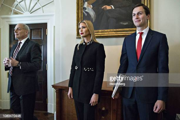 Jared Kushner senior White House adviser from right Ivanka Trump assistant to US President Donald Trump and John Kelly White House chief of staff...