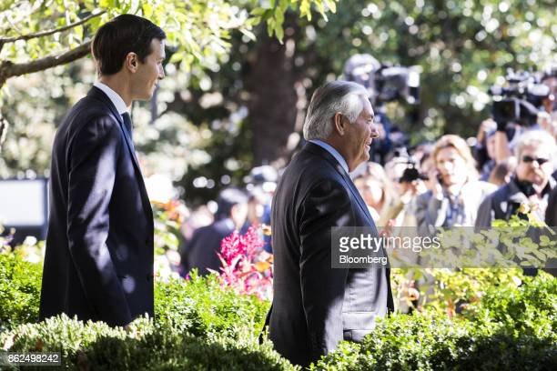 Jared Kushner senior White House adviser left and Rex Tillerson US Secretary of State arrive for a joint press conference with US President Donald...