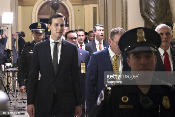 Jared Kushner senior White House adviser left and US Vice President Mike Pence right leave following a meeting at the US Capitol in Washington DC US...