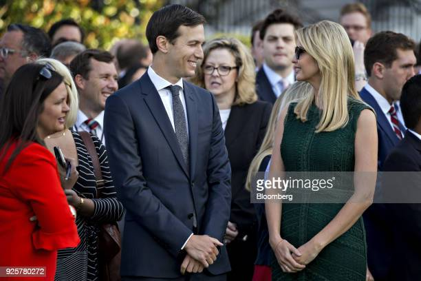 Jared Kushner senior White House adviser left speaks with Ivanka Trump assistant to US President Donald Trump pause before a moment of silence with...