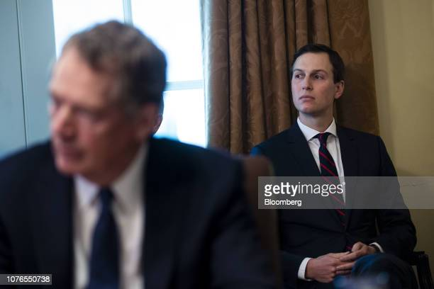Jared Kushner senior White House adviser right listens during a meeting in the Cabinet Room of the White House in Washington DC US on Wednesday Jan 2...