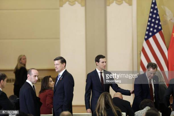 Jared Kushner senior White House adviser second right waits for US President Donald Trump and China's president Xi Jinping to arrive for a news...