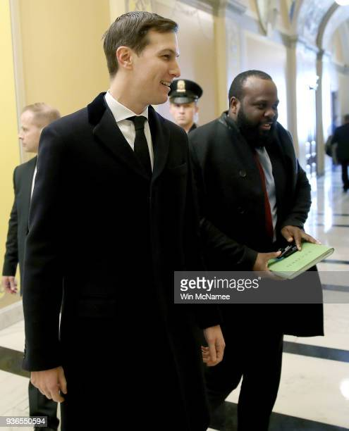 Jared Kushner son in law and senior advisor to US President Donald Trump leaves a meeting in the US Capitol on March 22 2018 in Washington DC Retired...