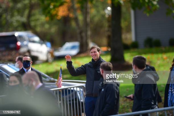 Jared Kushner, son-in- law of President Donald Trump, waves after being acknowledged as Trump speaks during a rally on October 31, 2020 in Newtown,...