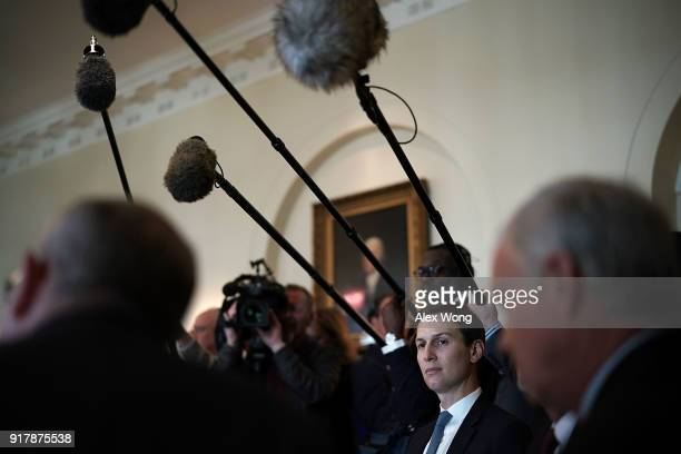 Jared Kushner White House Senior Adviser and soninlaw of US President Donald Trump listens during a meeting between President Donald Trump and...