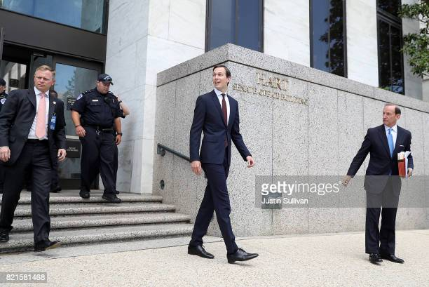 Jared Kushner White House senior advisor and soninlaw to US President Donald Trump leaves the Hart Senate Office Building on July 24 2017 in...