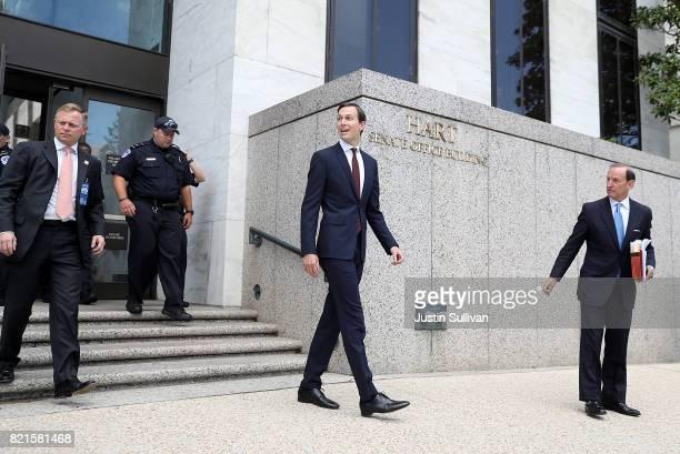 Jared Kushner, White House senior advisor and son-in-law to U.S. President Donald Trump, leaves the Hart Senate Office Building on July 24, 2017 in...