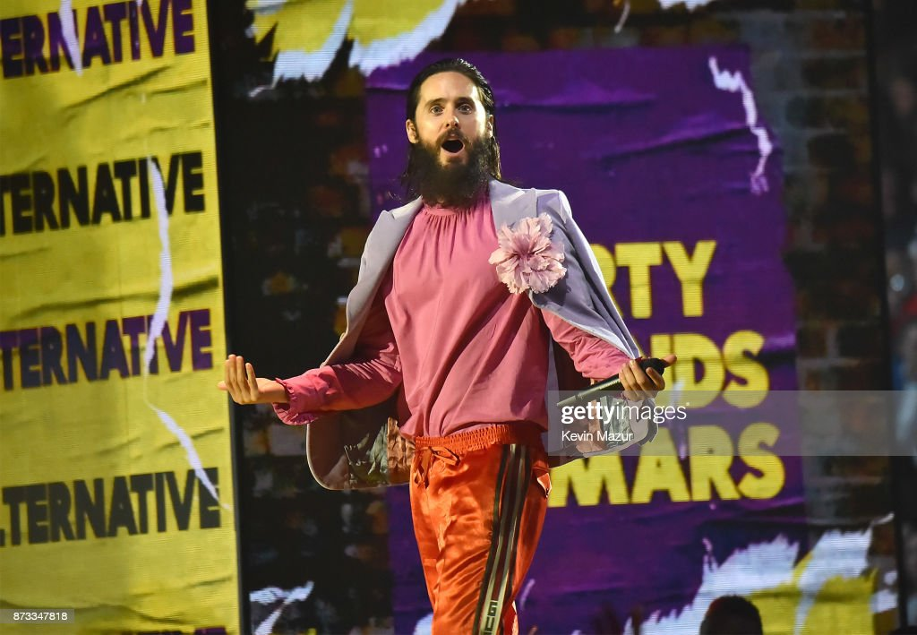 Jared Leto accepts award on stage during the MTV EMAs 2017 held at The SSE Arena, Wembley on November 12, 2017 in London, England.