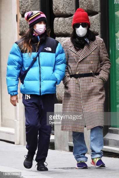 Jared Leto and Alessandro Michele are seen at via Dei Condotti on March 22, 2021 in Rome, Italy.