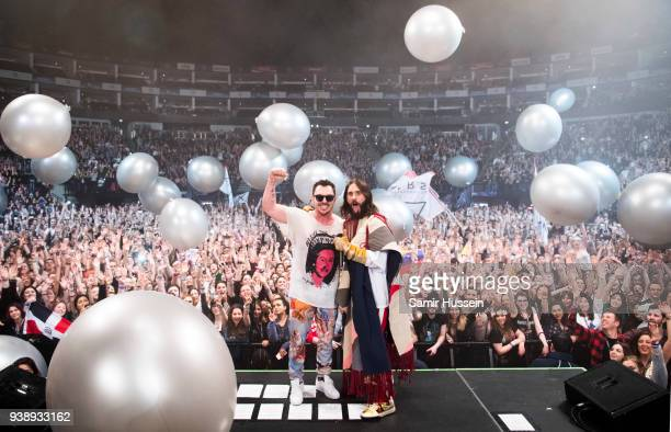 Jared Leto and Shannon Leto of Thirty Seconds To Mars performs at the O2 Arena on March 27 2018 in London United Kingdom