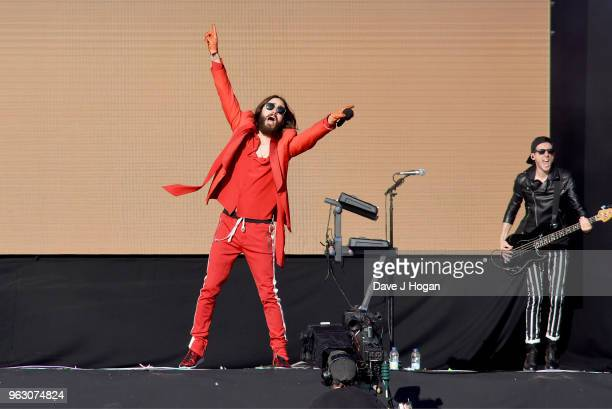 Jared Leto and Stevie Aiello of Thirty Seconds to Mars perform during day 2 of BBC Radio 1's Biggest Weekend 2018 held at Singleton Park on May 27...