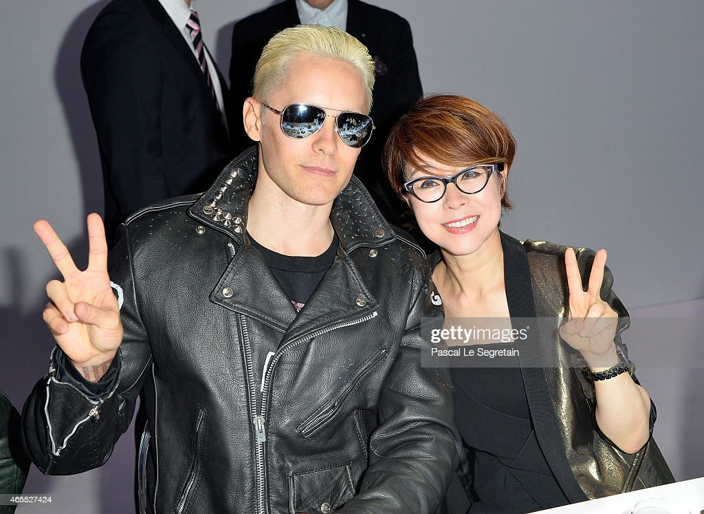 Jared Leto and Younghee Lee attend the Paris Fashion Week Tasting Night with Galaxy featuring Brad Goreski, model Jessica Stam and Executive Vice President of Global Marketing, IT & Mobile Division at Samsung Electronics, Younghee Lee at Four Seasons Hotel George V on March 7, 2015 in Paris, France.