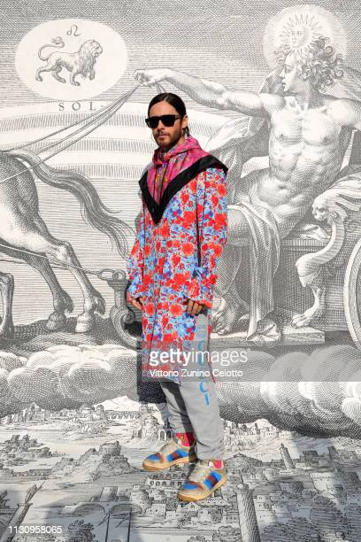 Jared Leto arrives at the Gucci show during Milan Fashion Week Autumn/Winter 2019/20 on February 20 2019 in Milan Italy
