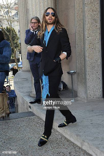 Jared Leto arrives at the Miu Miu show as part of the Paris Fashion Week Womenswear Fall/Winter 20142015 on March 5 2014 in Paris France