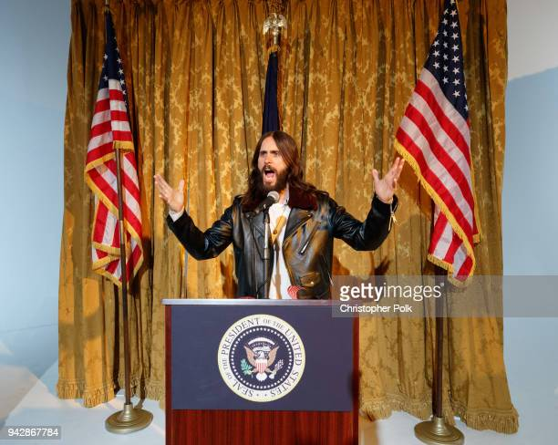 Jared Leto at The Museum of America a oneofakind popup museum promoting Thirty Seconds to MarsÕ new album AMERICA on April 6 2018 in Los Angeles...