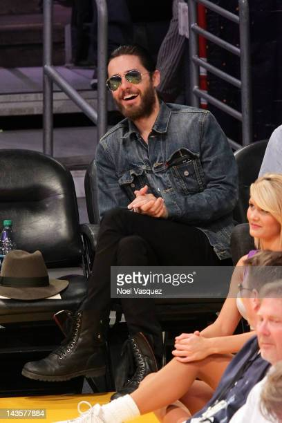 Jared Leto attends a basketball game between the Denver Nuggets and the Los Angeles Lakers at Staples Center on April 29 2012 in Los Angeles...