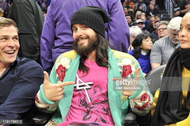 Jared Leto attends a basketball game between the Los Angeles Clippers and Portland Trail Blazers at Staples Center on December 03, 2019 in Los...