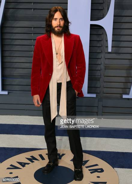 Jared Leto attends the 2018 Vanity Fair Oscar Party following the 90th Academy Awards at The Wallis Annenberg Center for the Performing Arts in...