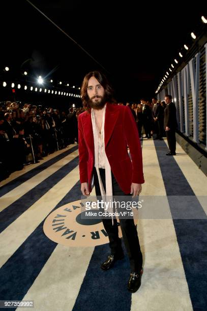 Jared Leto attends the 2018 Vanity Fair Oscar Party hosted by Radhika Jones at Wallis Annenberg Center for the Performing Arts on March 4 2018 in...