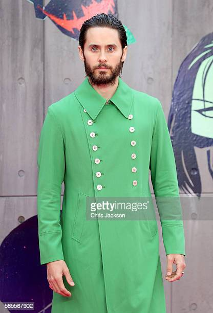"""Jared Leto attends the European Premiere of """"Suicide Squad"""" at the Odeon Leicester Square on August 3, 2016 in London, England."""