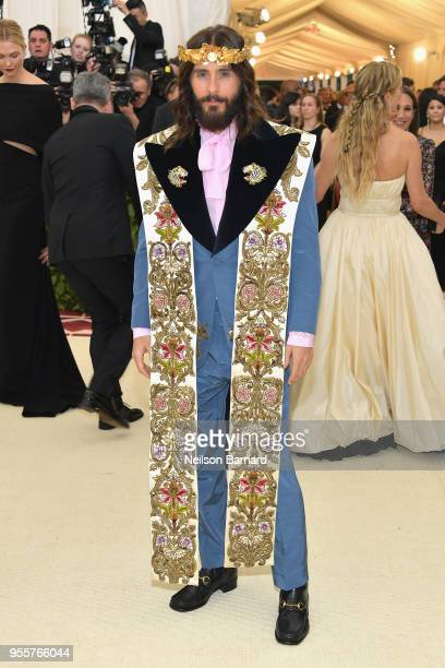 Jared Leto attends the Heavenly Bodies Fashion The Catholic Imagination Costume Institute Gala at The Metropolitan Museum of Art on May 7 2018 in New...