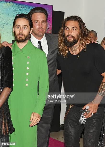 Jared Leto Ben Affleck and Jason Momoa attend the European Premiere of Suicide Squad at Odeon Leicester Square on August 3 2016 in London England