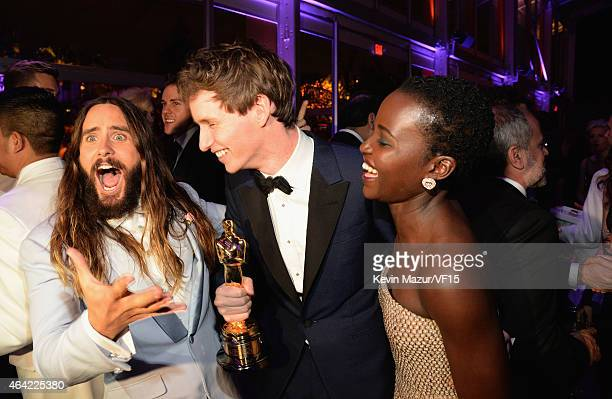 Jared Leto Eddie Redmayne and Lupita Nyong'o attend the 2015 Vanity Fair Oscar Party hosted by Graydon Carter at the Wallis Annenberg Center for the...