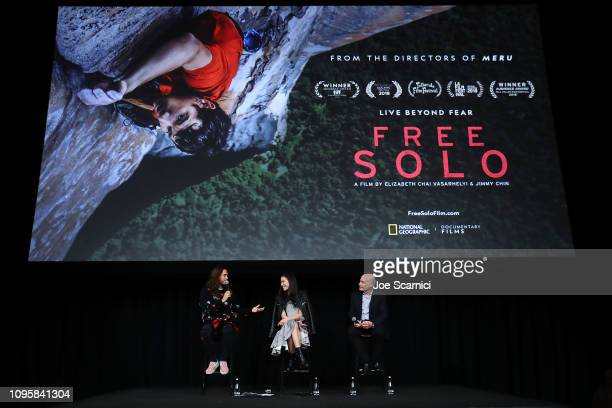 """Jared Leto Elizabeth Chai Vasarhelyi and Bob Eisenhardt speak onstage during a screening of National Geographic Documentary Films """"Free Solo"""" at..."""