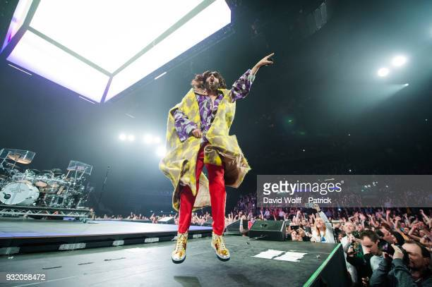 Jared Leto from Thirty Seconds to Mars performs at AccorHotels Arena on March 14 2018 in Paris France