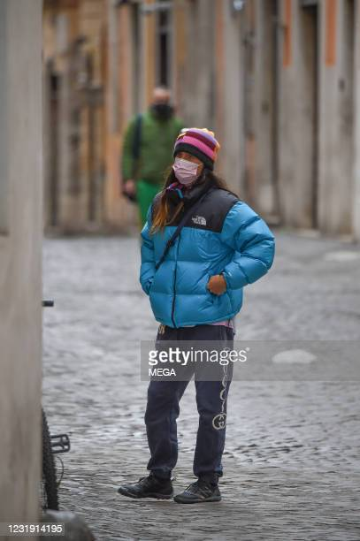 Jared Leto goes for a walk with Alessandro Michele on March 24, 2021 in Rome, Italy.