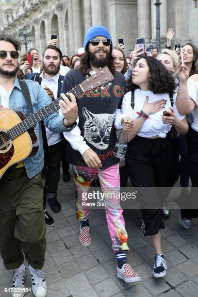 Jared Leto is seen outside the Louvre museum where he performed a few songs for the fans on April 16 2018 in Paris France