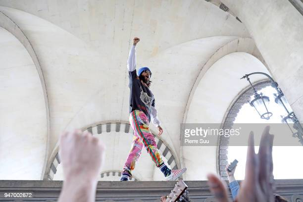 Jared Leto is seen performing for the fans outside the Louvre Museum on April 16 2018 in Paris France