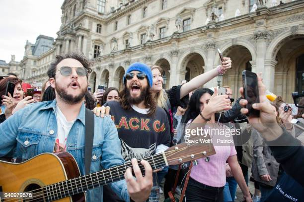 Jared Leto of 30 Seconds to Mars arrives for an unexpected showcase at Musee du Louvre on April 16 2018 in Paris France