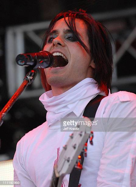 Jared Leto of 30 Seconds To Mars during KROQ Inland Invasion 2006 at Hyundai Pavilion at Glenn Helen in San Bernardino California United States