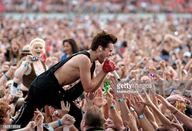 Jared Leto of 30 Seconds to Mars performs among a cheering crowd at The Soundwave Music Festival at Olympic Park on 27th February 2011 in Sydney...