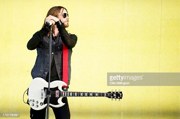 Jared Leto of 30 Seconds to Mars performs at Day 3 of The Download Festival at Donnington Park on June 16 2013 in Donnington England